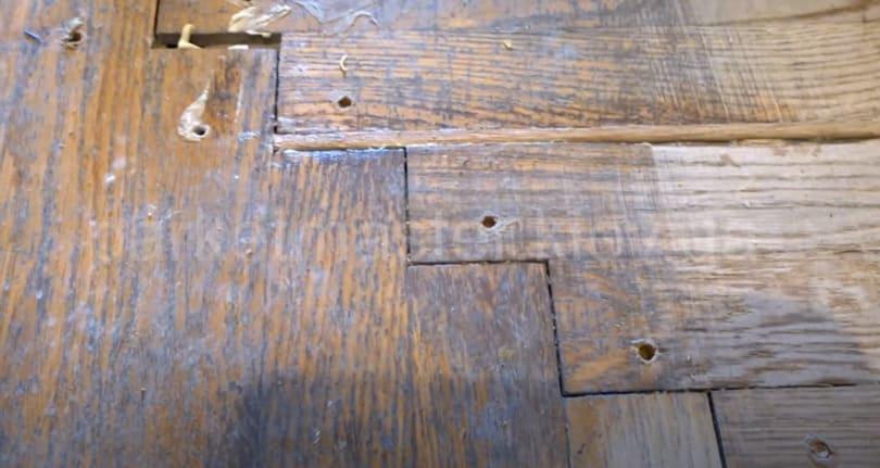 деревянные вставки в щели между плашками